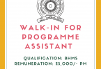 Walk-in for Programme Assistant