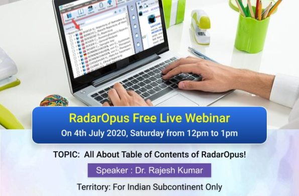 "RadarOpus Webinar On ""All About Table Of Contents Of RadarOpus"""